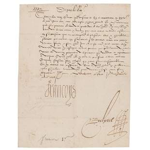 King Francis I Letter Signed