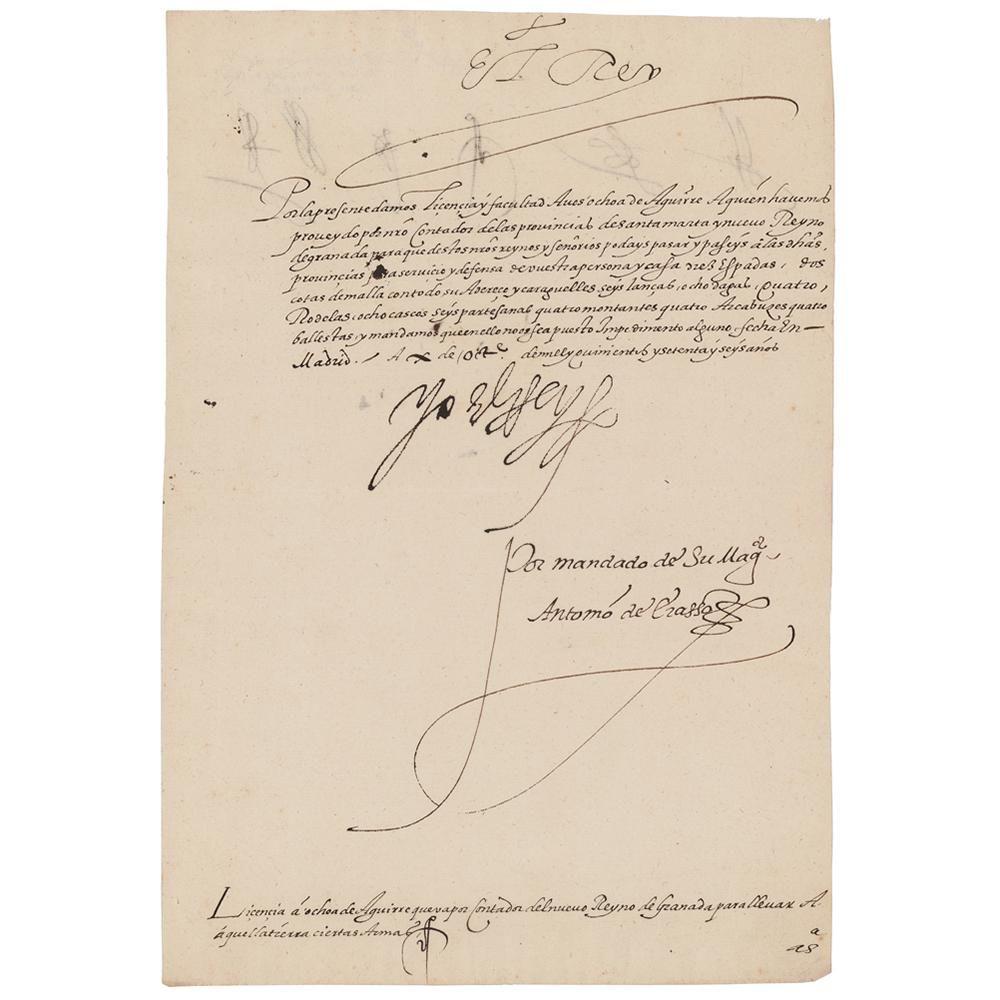King Philip II Document Signed