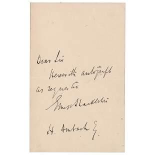 Ernest Shackleton Autograph Letter Signed