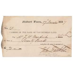 John Franklin Signed Check