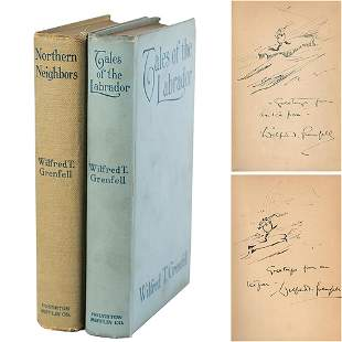 Wilfred T. Grenfell (2) Signed Books with Sketches