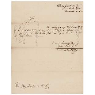 Tobias Lear Letter Signed