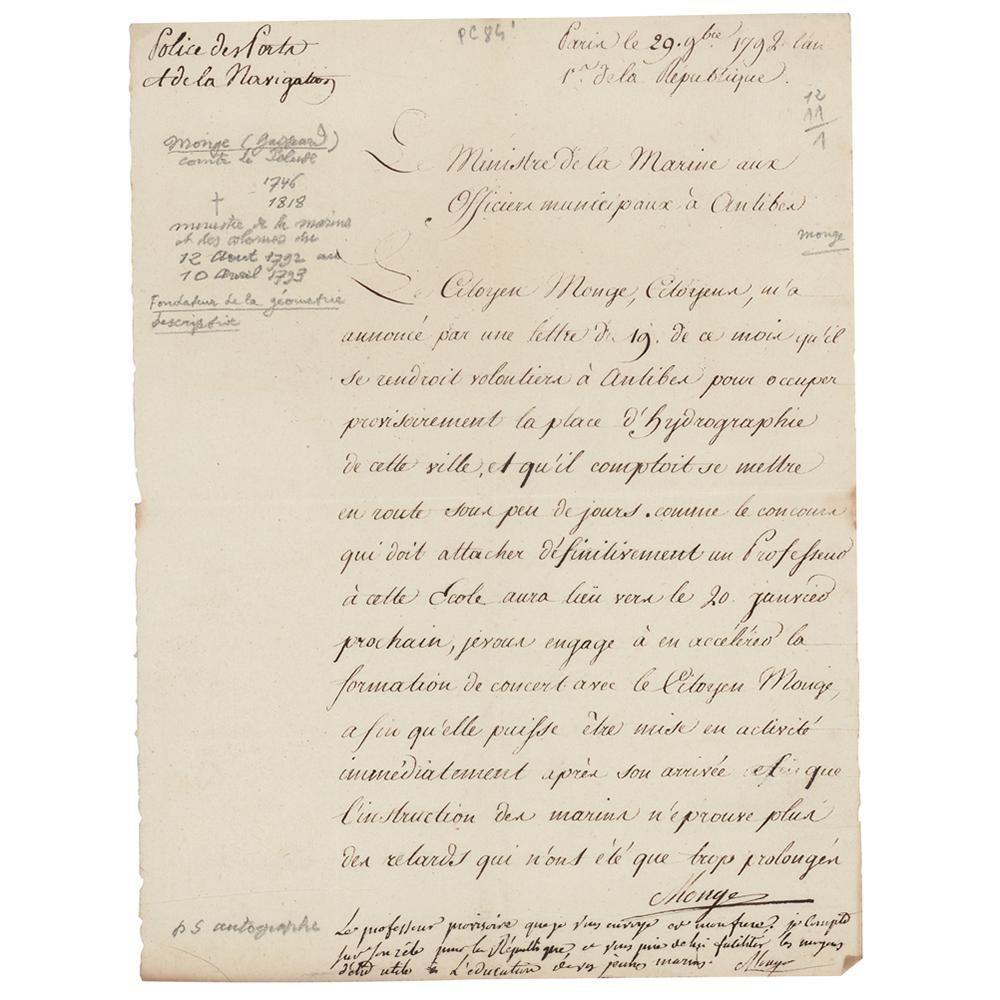 Gaspard Monge Letter Signed with Autograph Postscript
