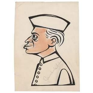 Jawaharlal Nehru Signed Sketch