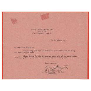 George S. Patton Typed Letter Signed