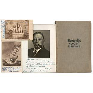 Felix von Luckner Signed Book, Photograph, and (2)