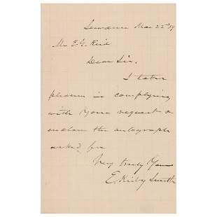 Edmund Kirby Smith Autograph Letter Signed