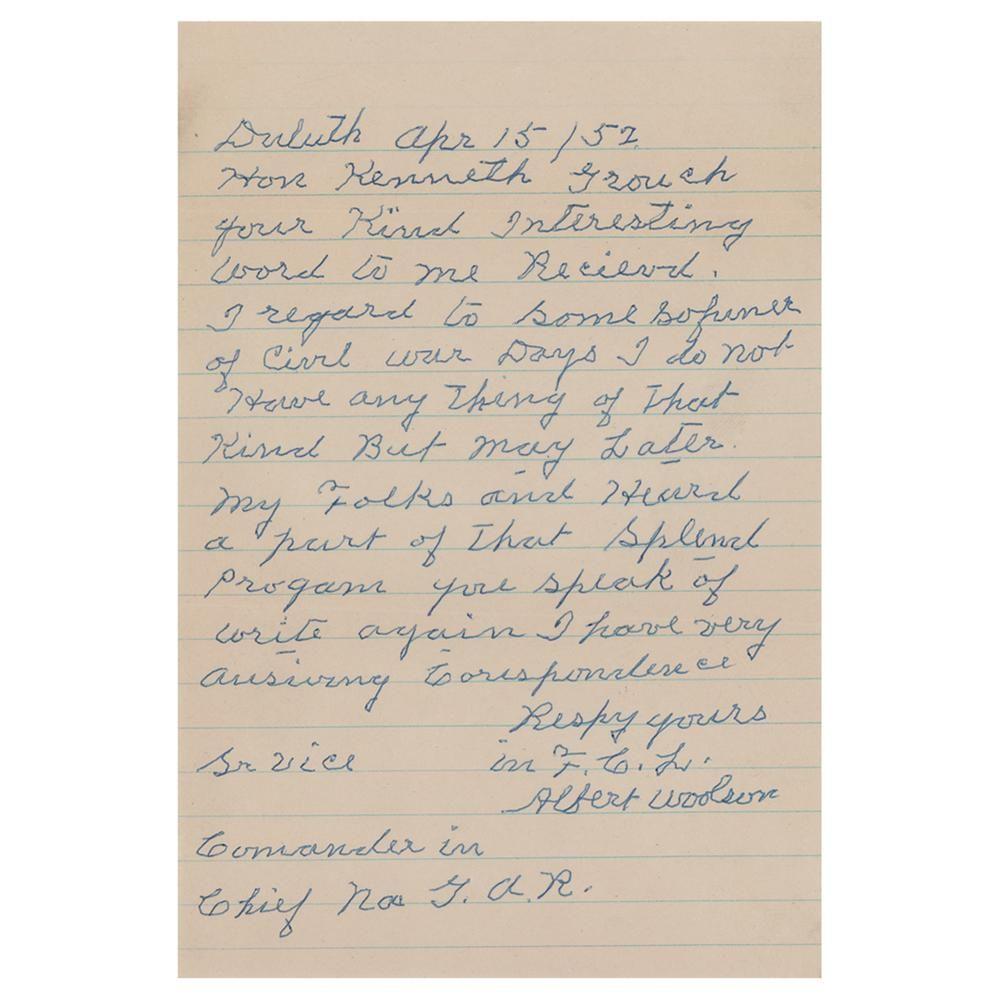 Civil War: Albert Woolson Autograph Letter Signed