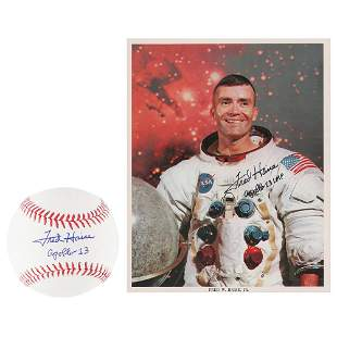 Fred Haise Signed Baseball and Signed Photograph
