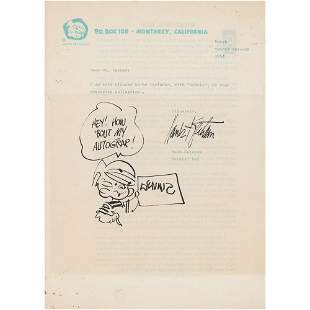 Hank Ketcham Typed Letter Signed with Sketch