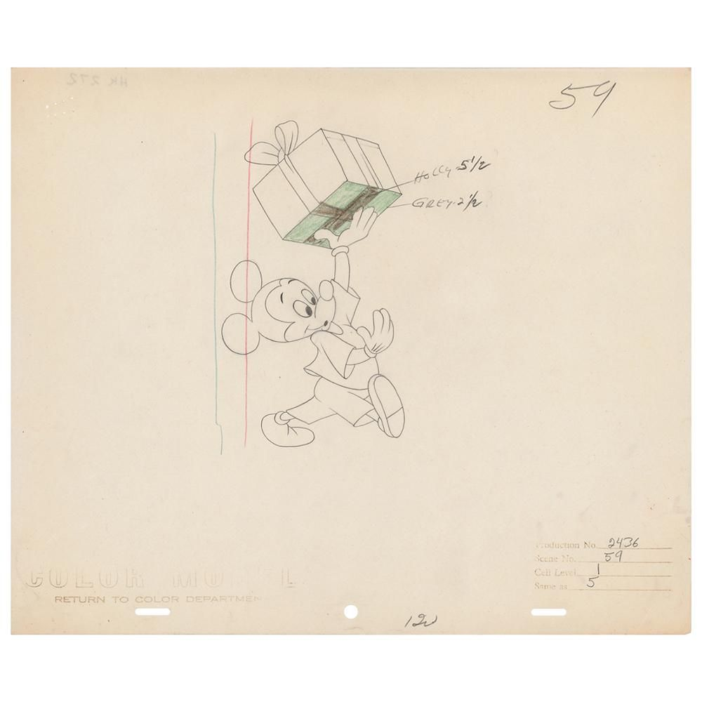 Mickey Mouse production drawing from Pluto's Christmas