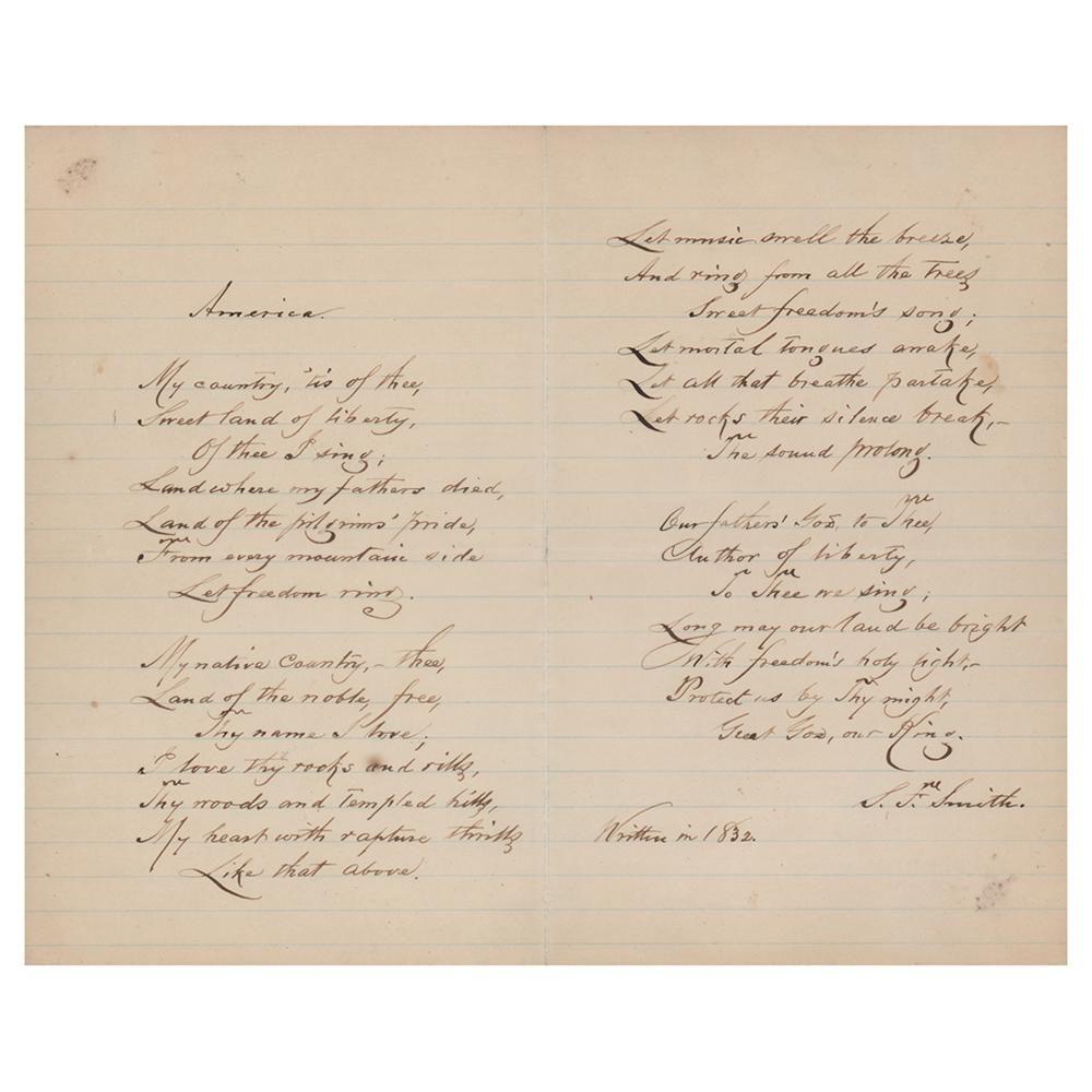 Samuel Francis Smith Autograph Manuscript Signed