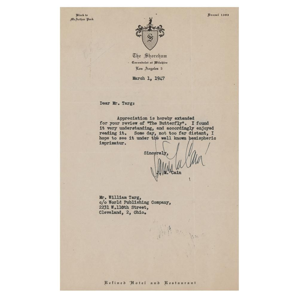James M. Cain Typed Letter Signed