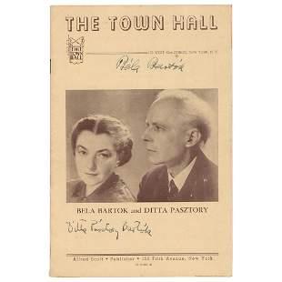 Bela Bartok Signed Program