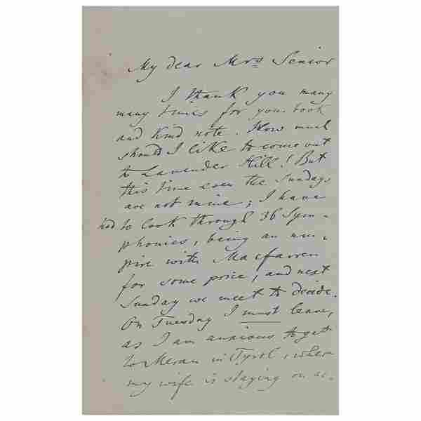 Joseph Joachim Autograph Letter Signed