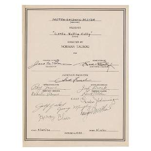 Judy Garland Signed Cast Sheet for Little Nellie Kelly