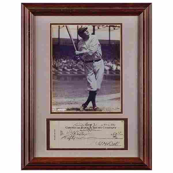 Babe Ruth Signed Check