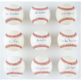 Baseball Hall of Famers (9) Signed Baseballs