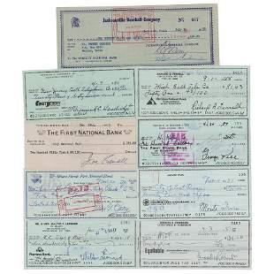 Baseball Hall of Famers (9) Signed Checks