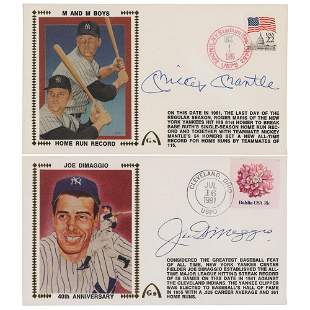 Mickey Mantle and Joe DiMaggio (2) Signed Covers