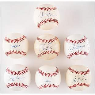 NY Yankees: Modern Stars (7) Signed Baseballs