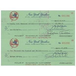 Lou Piniella and Mickey Rivers Signed Payroll Checks