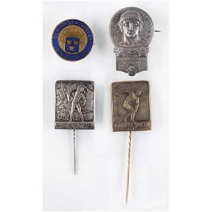 Stockholm 1912 Summer Olympics Lot of (4) Pins