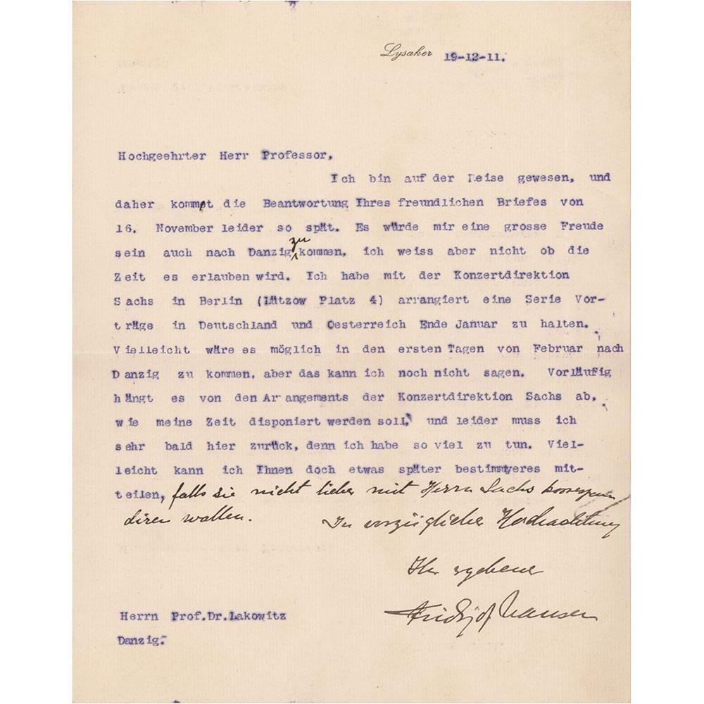 Fridtjof Nansen Typed Letter Signed