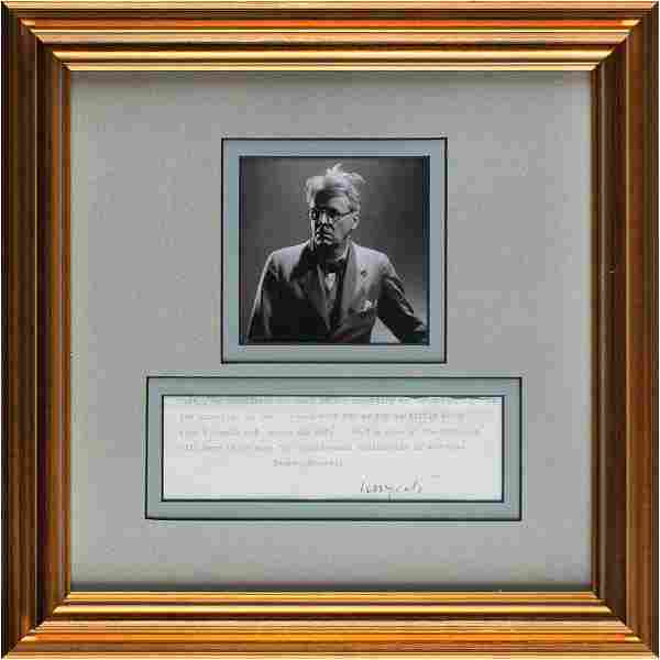 William Butler Yeats Partial Typed Letter Signed