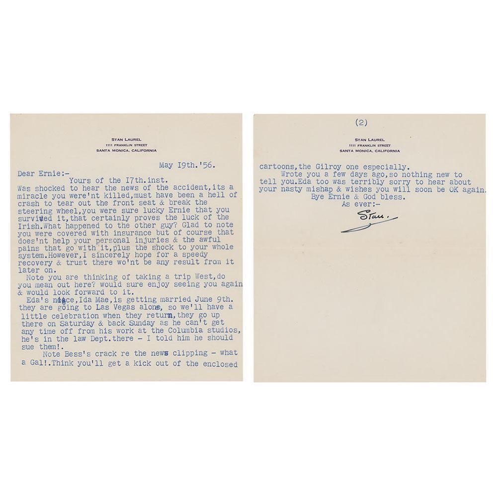 Stan Laurel Typed Letter Signed
