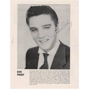 Elvis Presley Signed Program