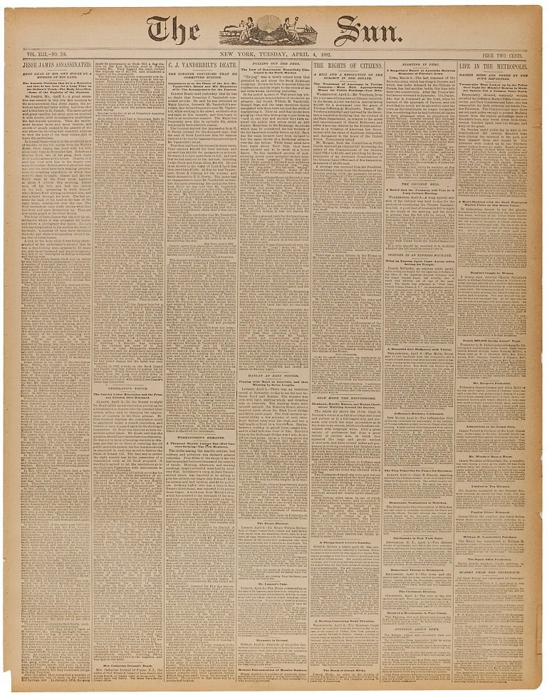 15: Jesse James Newspaper
