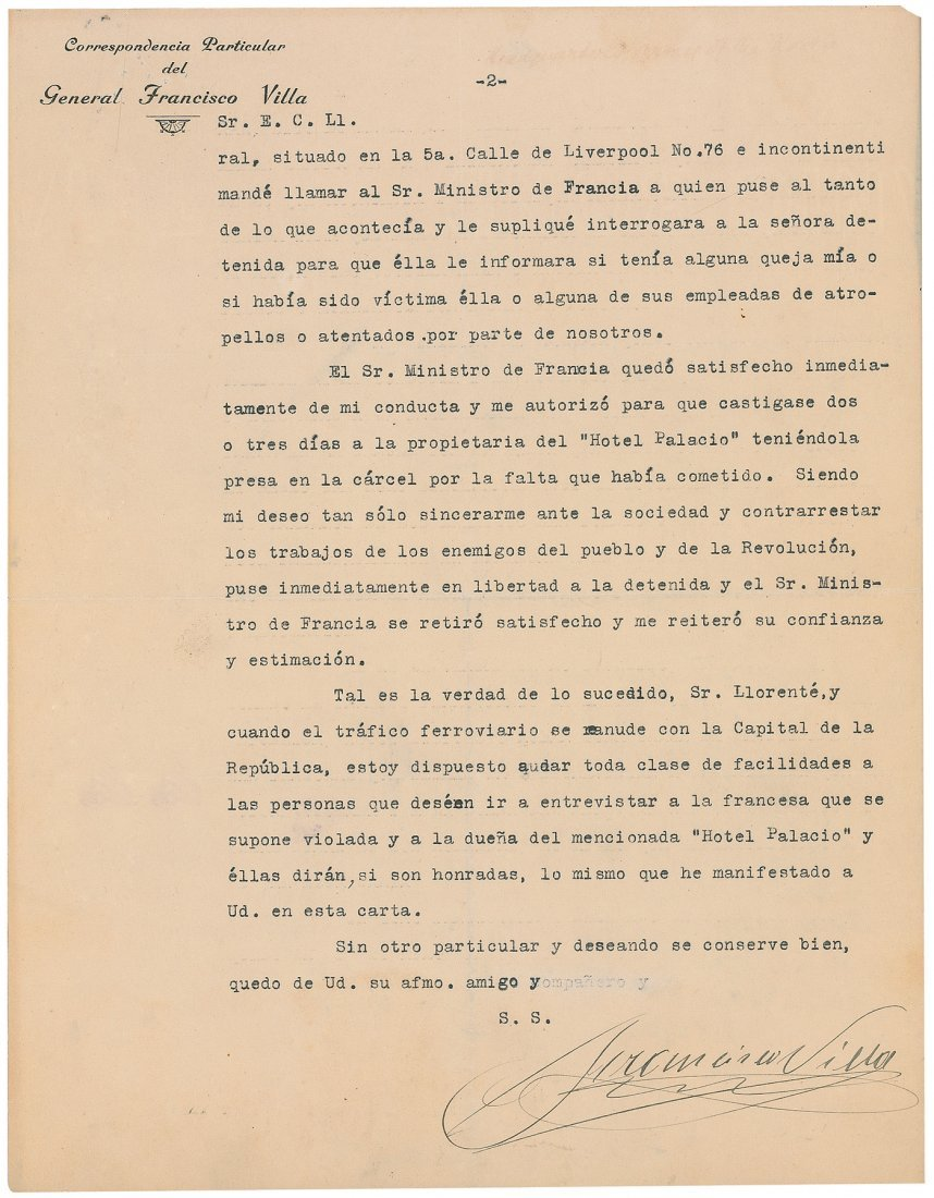 19: Francisco 'Pancho' Villa Letter