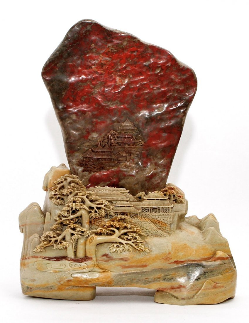 74: Large Chicken Blood Stone Carving