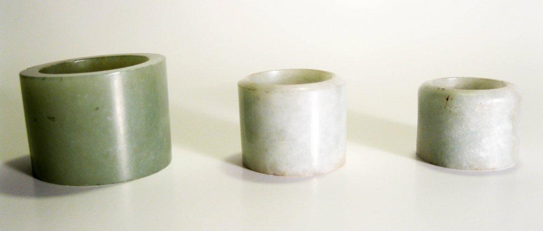 8: Three Celadon Jade Archer Rings, Qing Dynasty