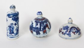 Three Blue And White Snuff Bottles, Qing Dynasty