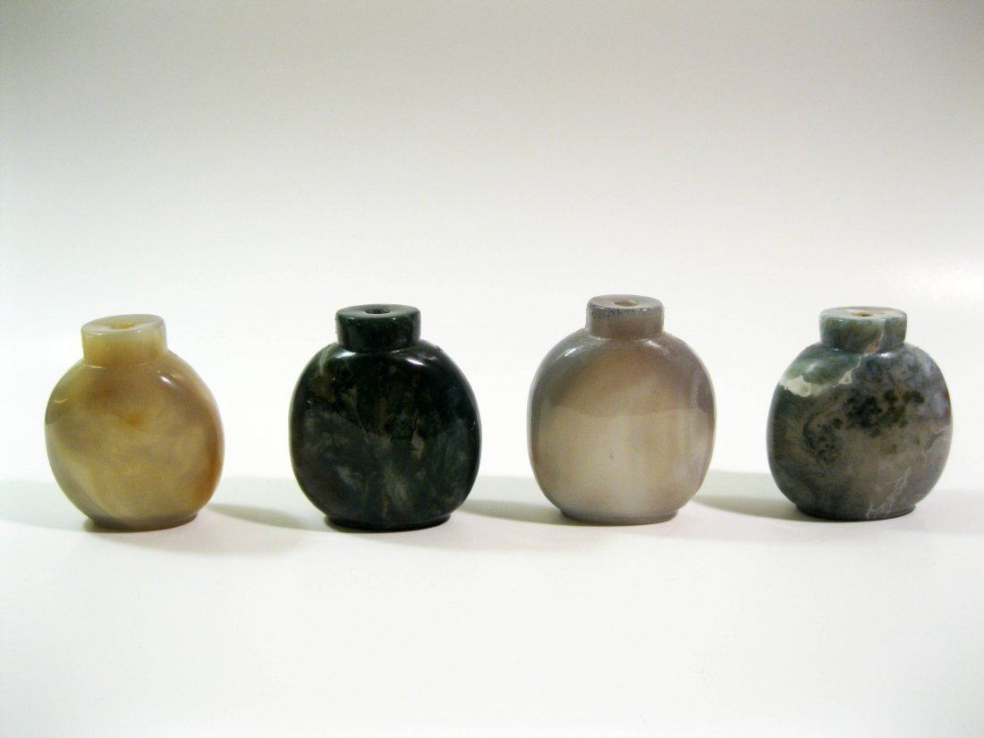 5B: Four Antique Agate Snuff Bottles