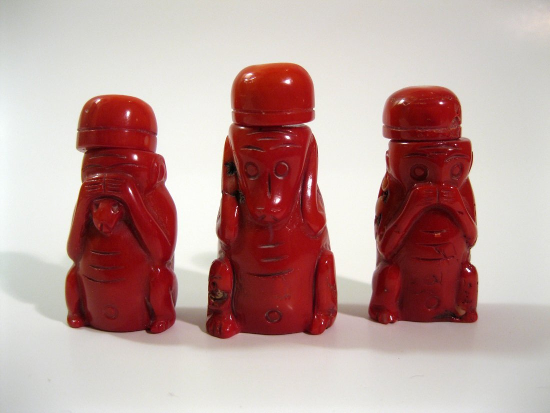 5A: Three Coral Snuff Bottles, 19th Century