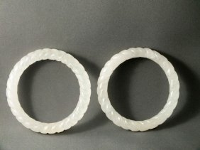 Pair of Translucent White Jade Rope Bangles