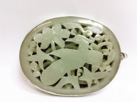 Celadon Jade Plaque with Silver, Qing Dynasty