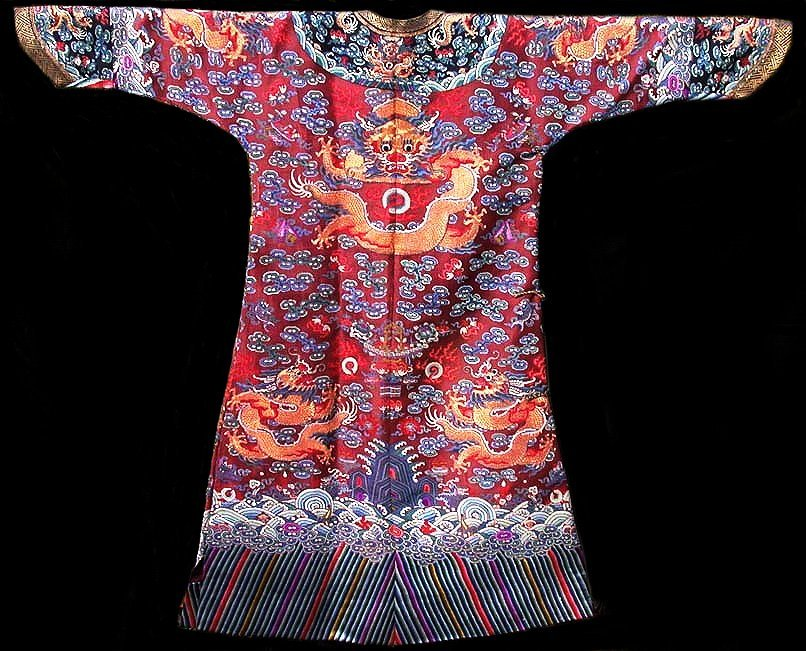 Embroidered Red Silk Nine Dragon Summer Robe 19th C.