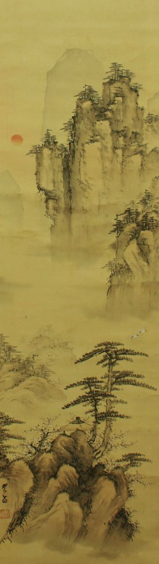 Japanese Scroll Painting, signed Sano Tanseki (19th C.)