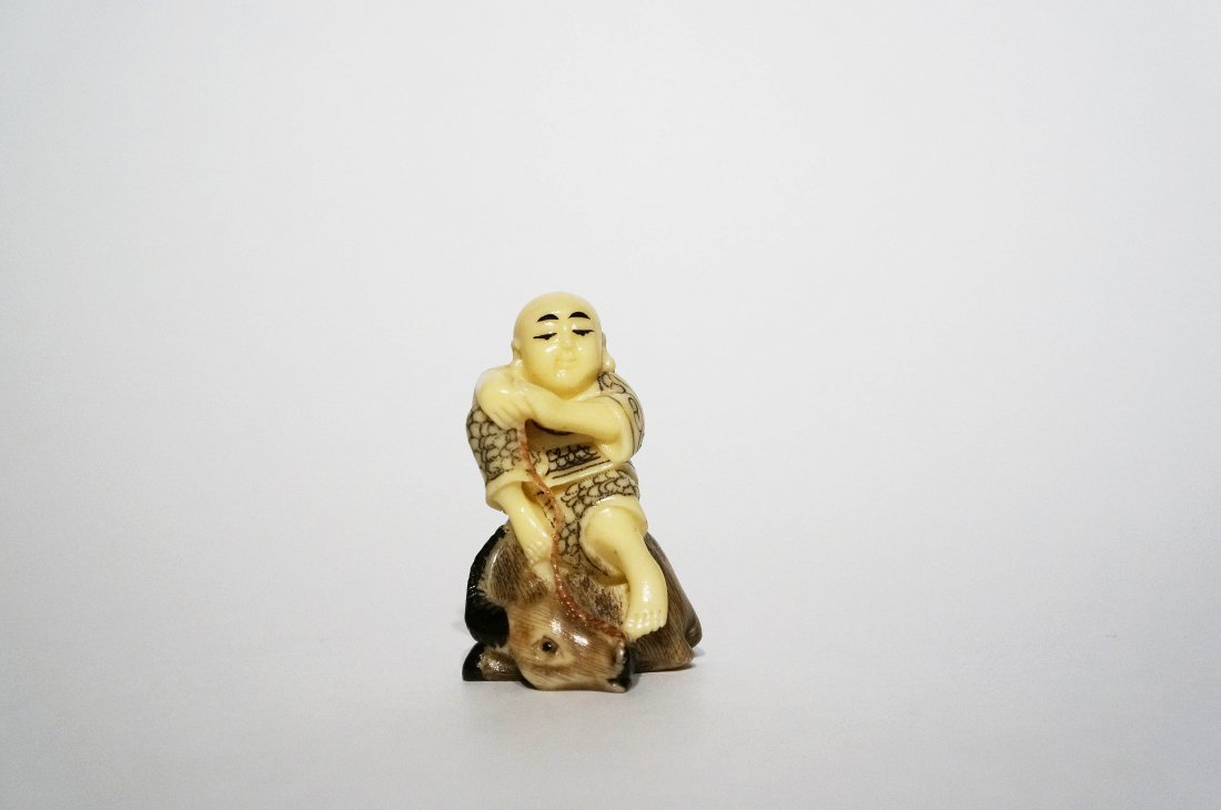 Antique Polychrome Ivory Netsuke