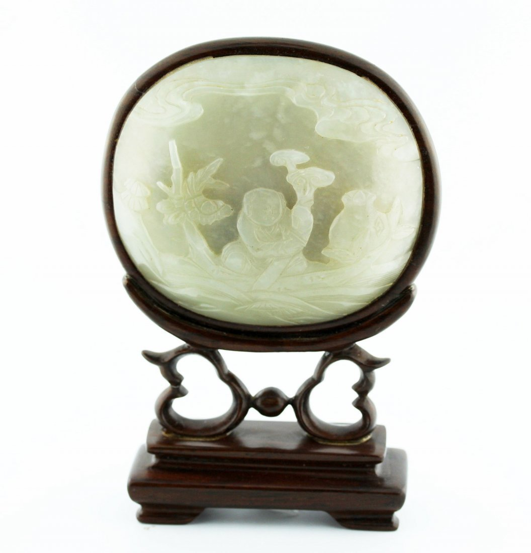 Very Fine White Jade Landscape Screen Plaque, Qing Dyn.
