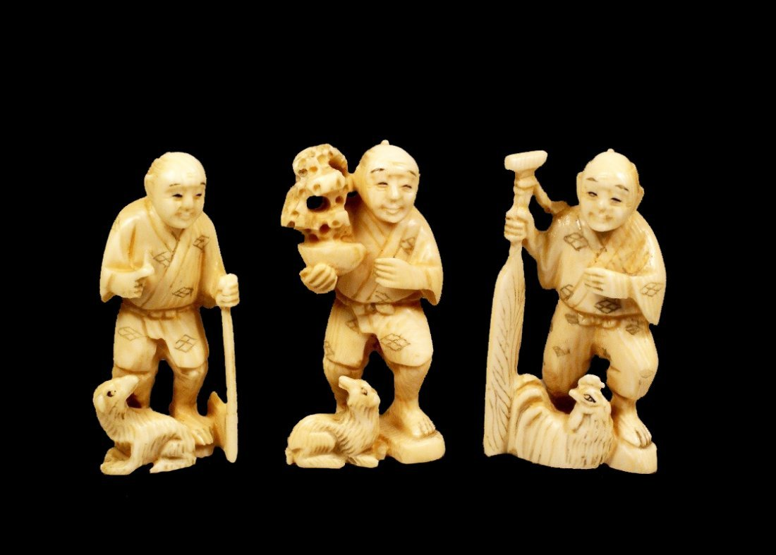 Three Antique Ivory Netsukes, late Meiji Period