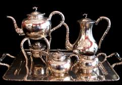 6 Piece Chinese Export Sterling Silver Set Hung Chong