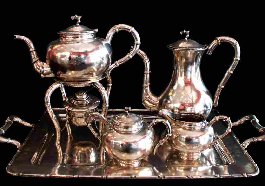 6 Piece Chinese Export Sterling Silver Set, Hung Chong