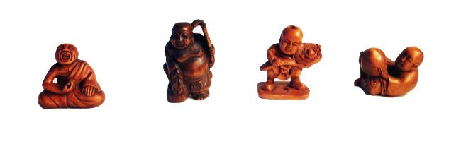 Four Boxwood Netsuke, Signed