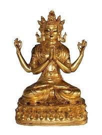 Fine Gilt Copper figure of Avalokiteshvara, Yongle Mark