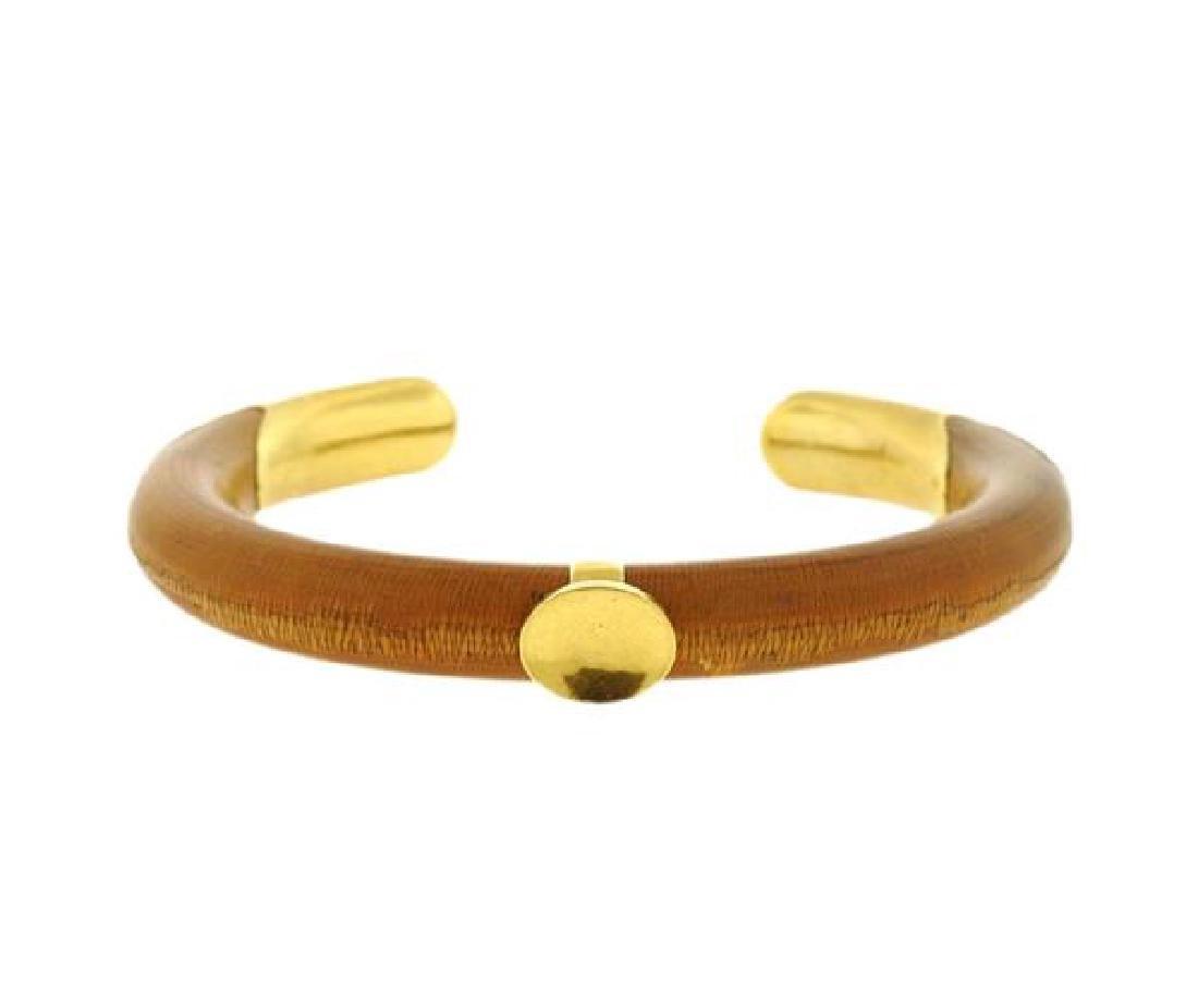 Tiffany & Co Elsa Peretti 18K Gold Wood Cuff